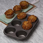 Picture of 6 Cup Muffin Pan, Non-Stick Baking Pans, Easy to Clean and Perfect for Making Jumbo Muffins Cup Cake (Black)