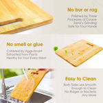 Picture of Chopping Board Large Natural Bamboo Wood Chopping Cutting Board for Kitchen Vegetables, Fruits And Cheese Eco-Friendly Anti-Microbial (36 x 26cm)