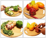 Picture of Natural Bamboo Chopping Board Wooden Fruit Vegetable Serving Cutting Pad with Handle for Kitchen (30 cm)