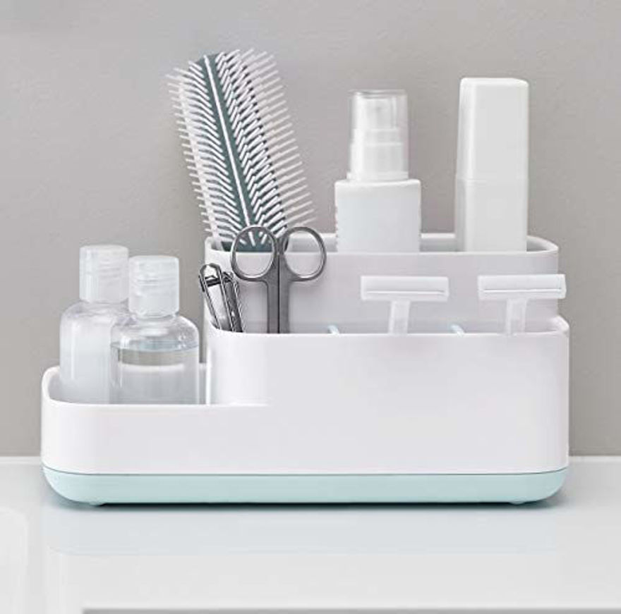 Picture of 5 Compartment Kitchen And Bathroom Caddy Storage Holder Stand Organizer Store Shelf Soy Cosmetics Toiletry Toothbrush for Wash Basin and Sink Soap Hand Wash Toothbrush Shaving Kit Toiletry