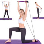 Picture of Portable Pilates Bar Kit With Resistance Band For Exercise With Foot Loop For Total Body Workout, Yoga, Pilates and Strength Training Exercise