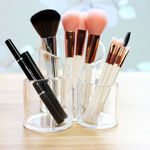 Picture of Acrylic Cosmetic Organizer Makeup Brush Holder 3 Compartment Nail Polish Lipstick Eyeliner Comb Beauty Storage Desk Rack Dressing Table Stand