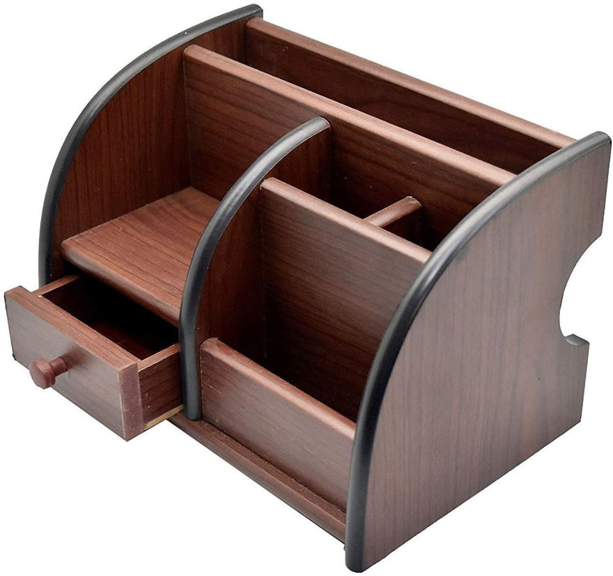 Picture of Polished Wooden Pen Stand with Drawer, Stationery Stand, Mobile Holder & Remote Stand for Office Desk Big Size