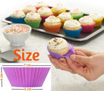 Picture of Round Silicon Molds for Cupcake, Jelly and Muffin | Microwave Oven and OTG Baking Mold (Set of 12)