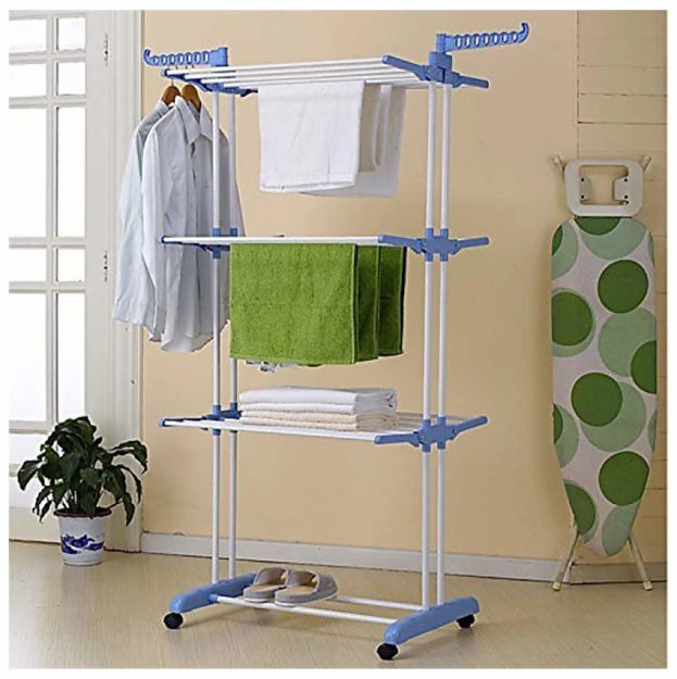 Picture of Folding Double Supported 3 Layer Cloth Drying Stand Laundry Dryer Hanger with Breaking Wheels for Balcony Indoor and Outdoor Home, Steel (Blue)