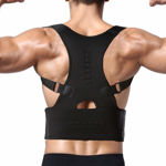 Picture of Magnetic Back Brace Posture Corrector Therapy Shoulder Belt for Lower and Upper Back Pain Relief for Man and Women (M Size) Black