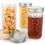 Picture of High Ball Mason glass Jars For Storage & Decoration With Silver Airtight Lid, Glass Utility Container (Glass, 320 ml, Set of 6)