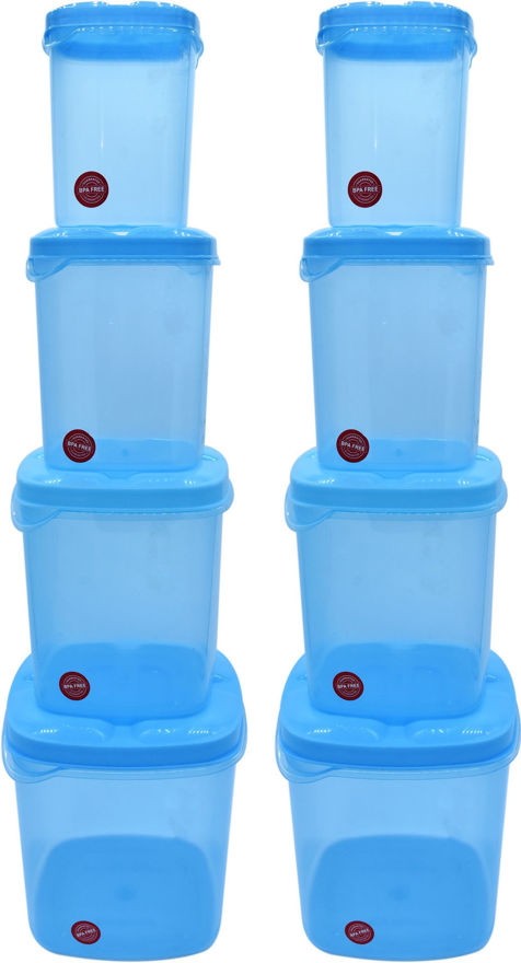 Picture of Kitchen Container Set, Food Storage Container, Plastic Container, Storage Box, Masala box, Dibba - 500 ml, 1000 ml, 1500 ml, 2000 ml Plastic Utility Container (8 Pack)