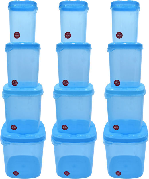 Picture of Kitchen Container Set, Food Storage Container, Plastic Container, Storage Box, Masala box, Dibba - 500 ml, 1000 ml, 1500 ml, 2000 ml Plastic Utility Container (12 Pack)