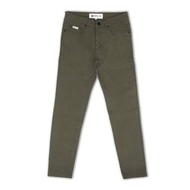 Picture of Men's Solid Green Regular Slim Fit Jeans
