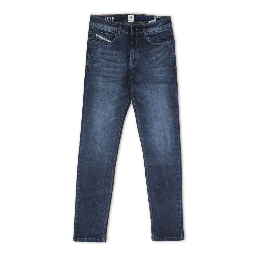 Picture of Men's Blue+White Regular Stretchable Jeans